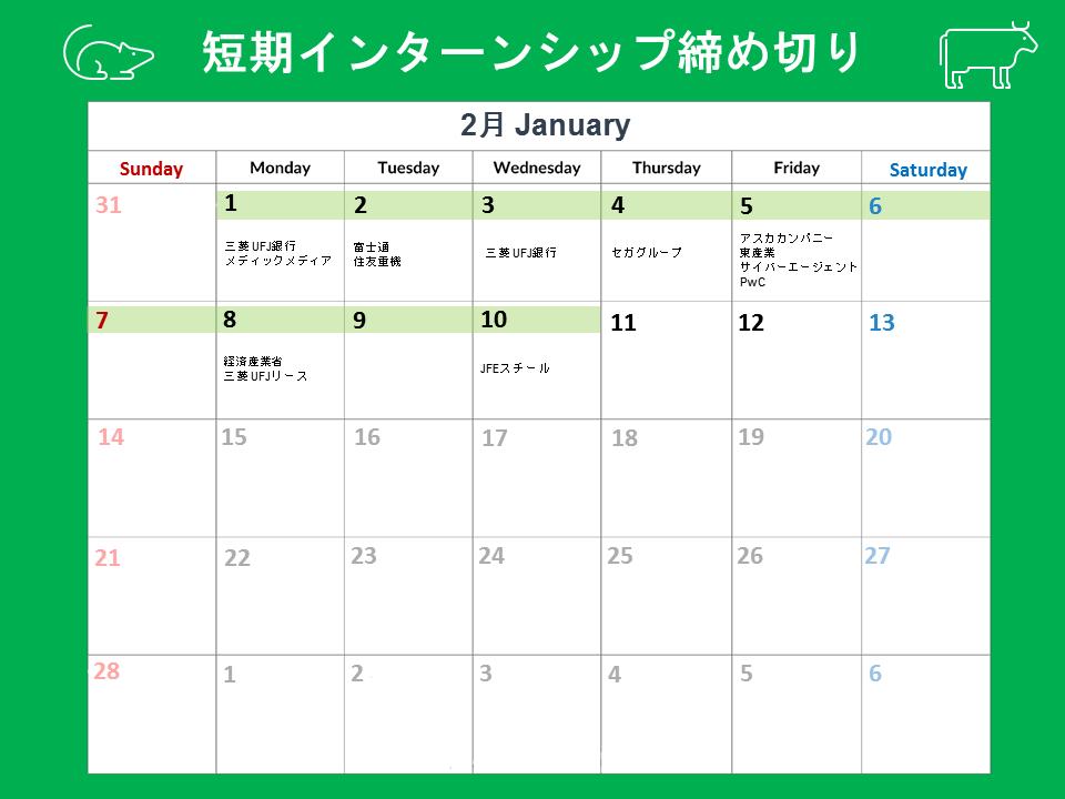 短期インターンシップ締切カレンダー(2021年2月1日~10日)